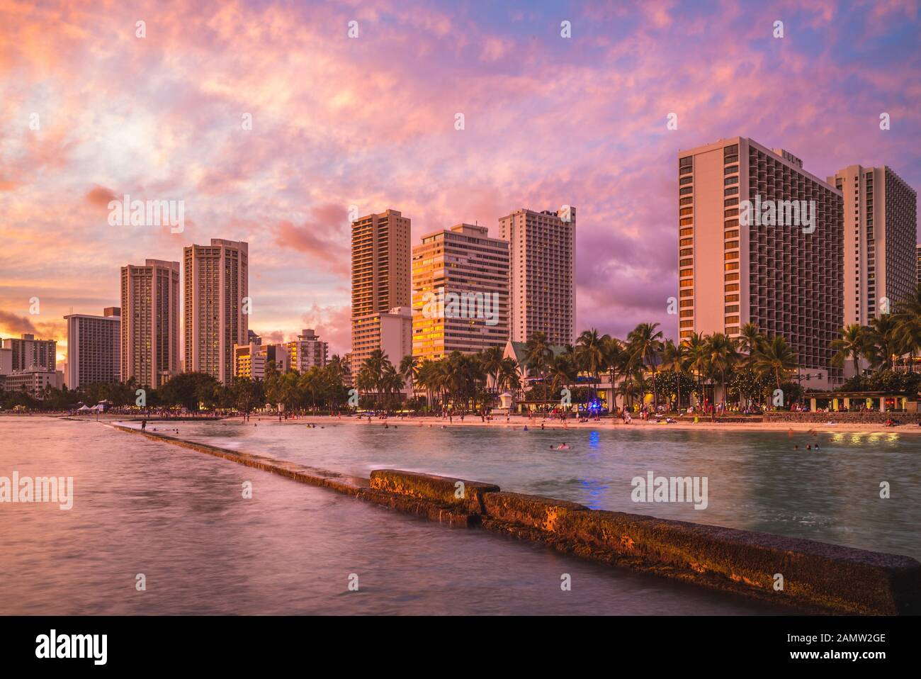 Skyline of Honolulu at Waikiki beach, Hawaii, US Stock Photo