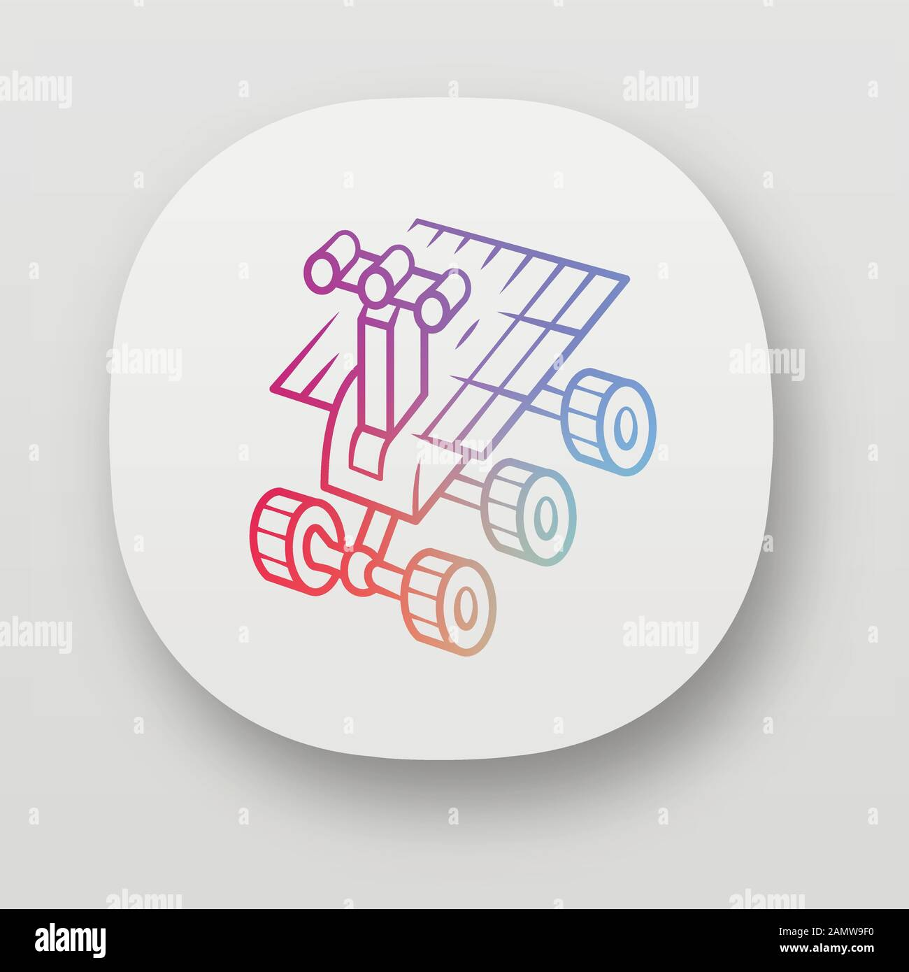 Space robot app icon. Moon rover. Moonwalker. Apparatus for studying planets surface. Space exploration. UI/UX user interface. Web or mobile applicati Stock Vector