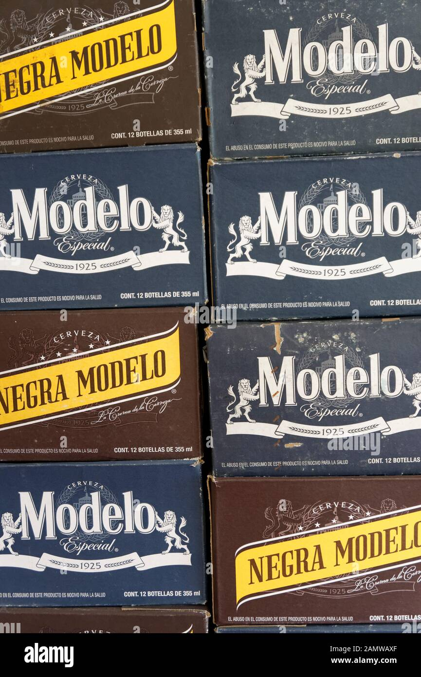 Boxes of Negra Modelo Mexican beer in Mercado 28 souvenirs and handicrafts market in Cancun, Mexico Stock Photo