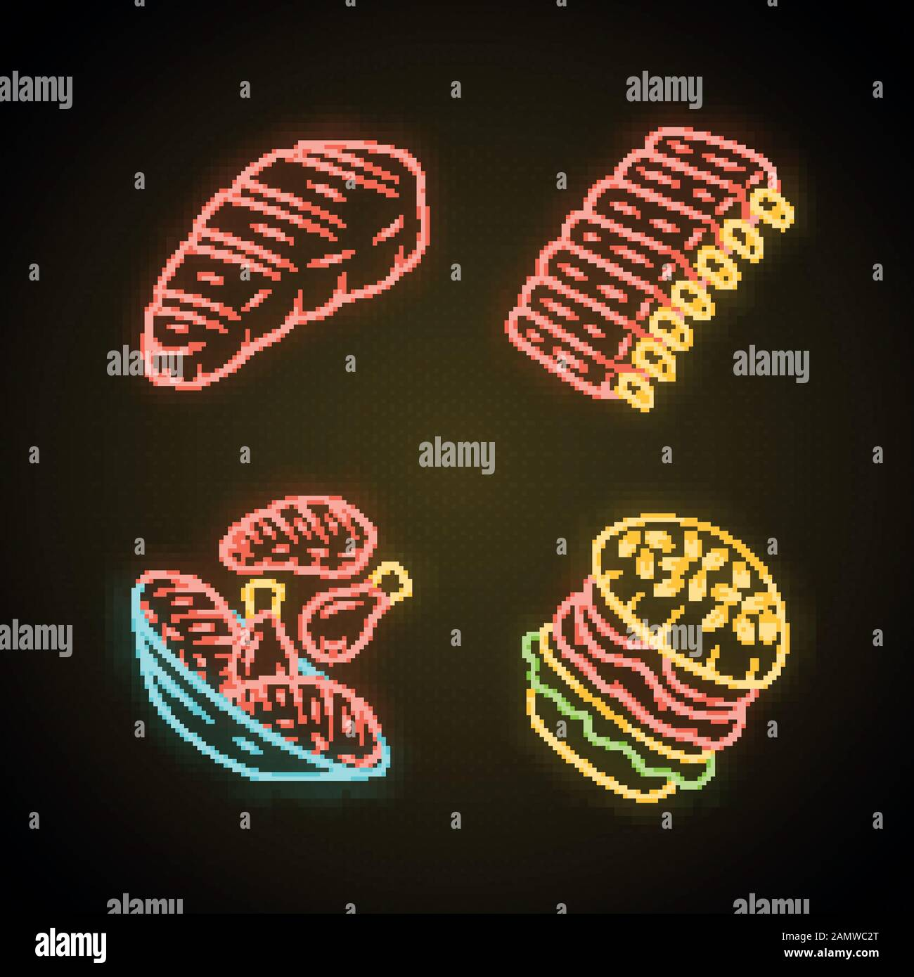 Meat Dishes Neon Light Icons Set Steak Beef Ribs Chicken Legs Burger Fast Food Butcher Shop Product Restaurant Grill Bar Steakhouse Menu Glo Stock Vector Image Art Alamy