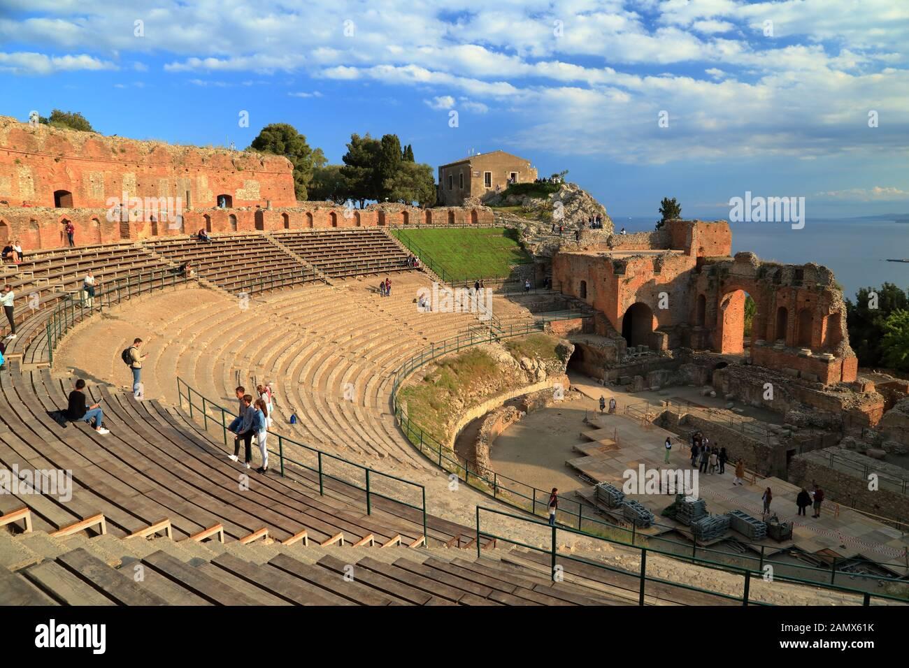 Ancient Greek theatre (Teatro Greco) of Taormina. Teatro antico di Taormina Stock Photo