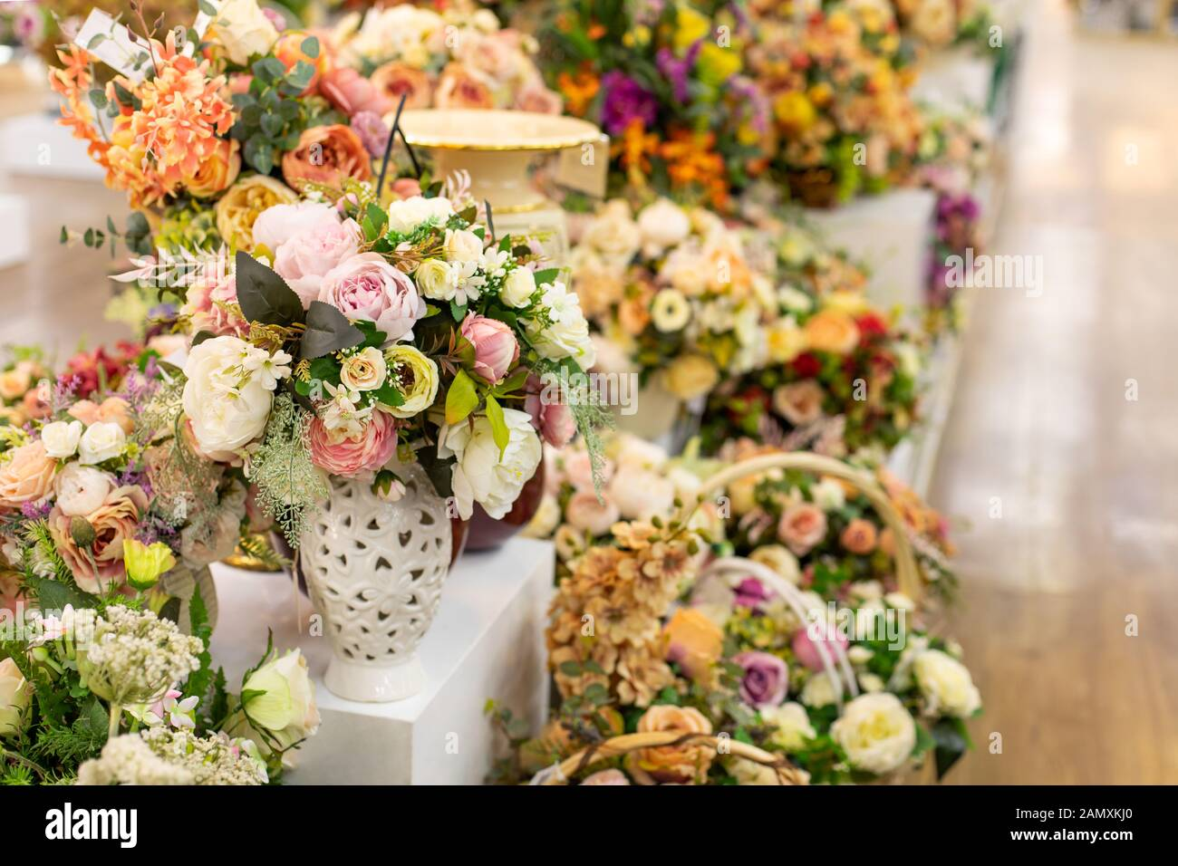 Interior Decor Artificial Rose Flowers A Large Bouquet Of Pink White Fake Rose Flower Shop A Beautiful Bouquet Of Flowers With Leaves Backdrop Stock Photo Alamy