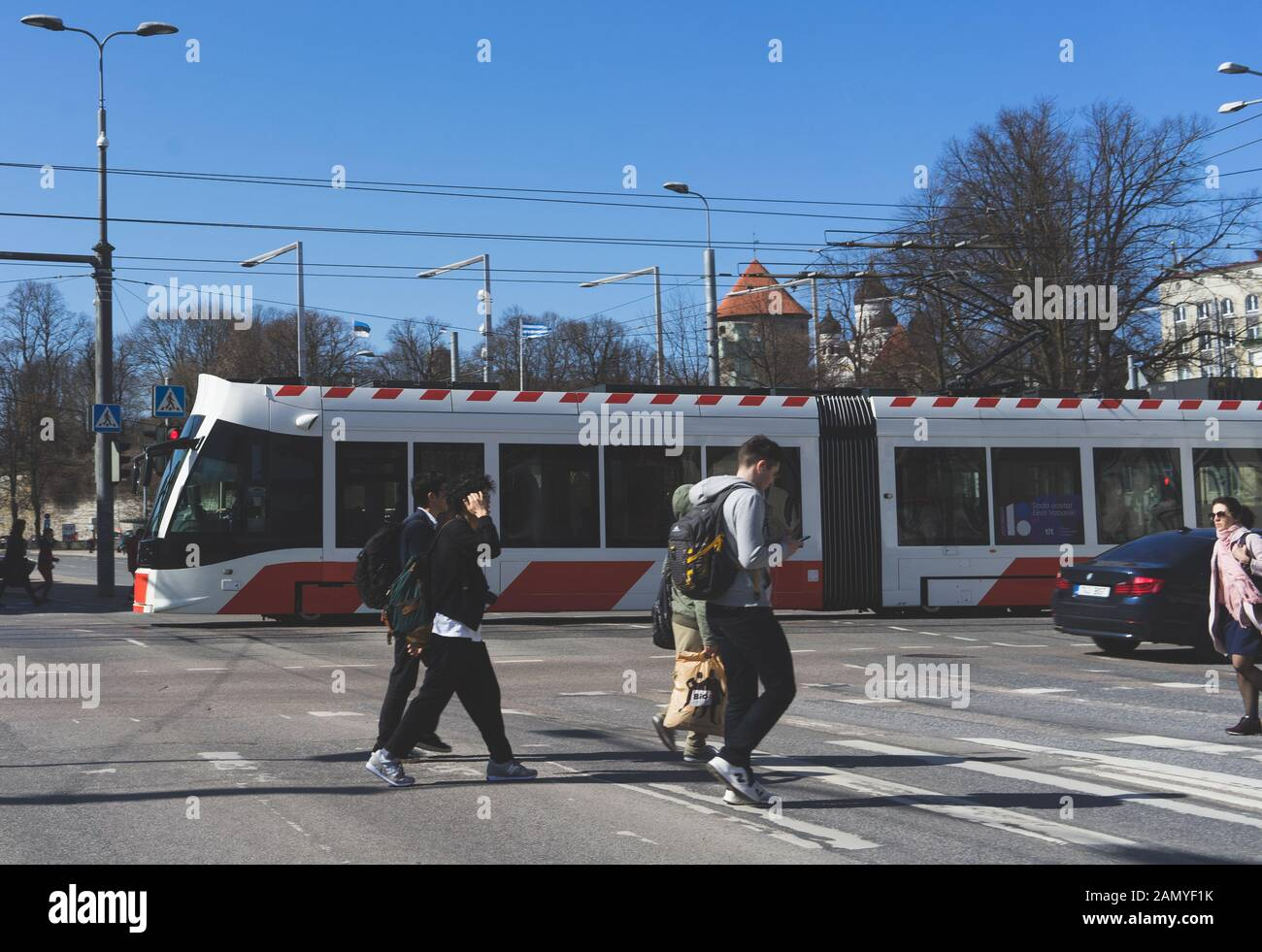 20 April 2019 Tallinn, Estonia. Low-floor tram on one of the streets of the city. Stock Photo