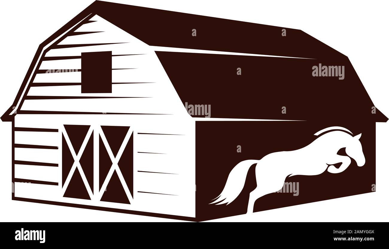 Farm Barn And White Horse Vector Graphic Design Element Stock Vector Image Art Alamy