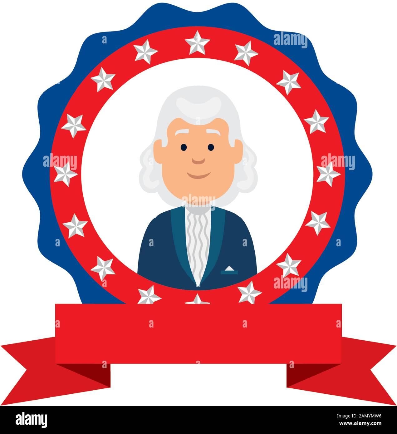 Usa president man inside seal stamp vector design Stock Vector