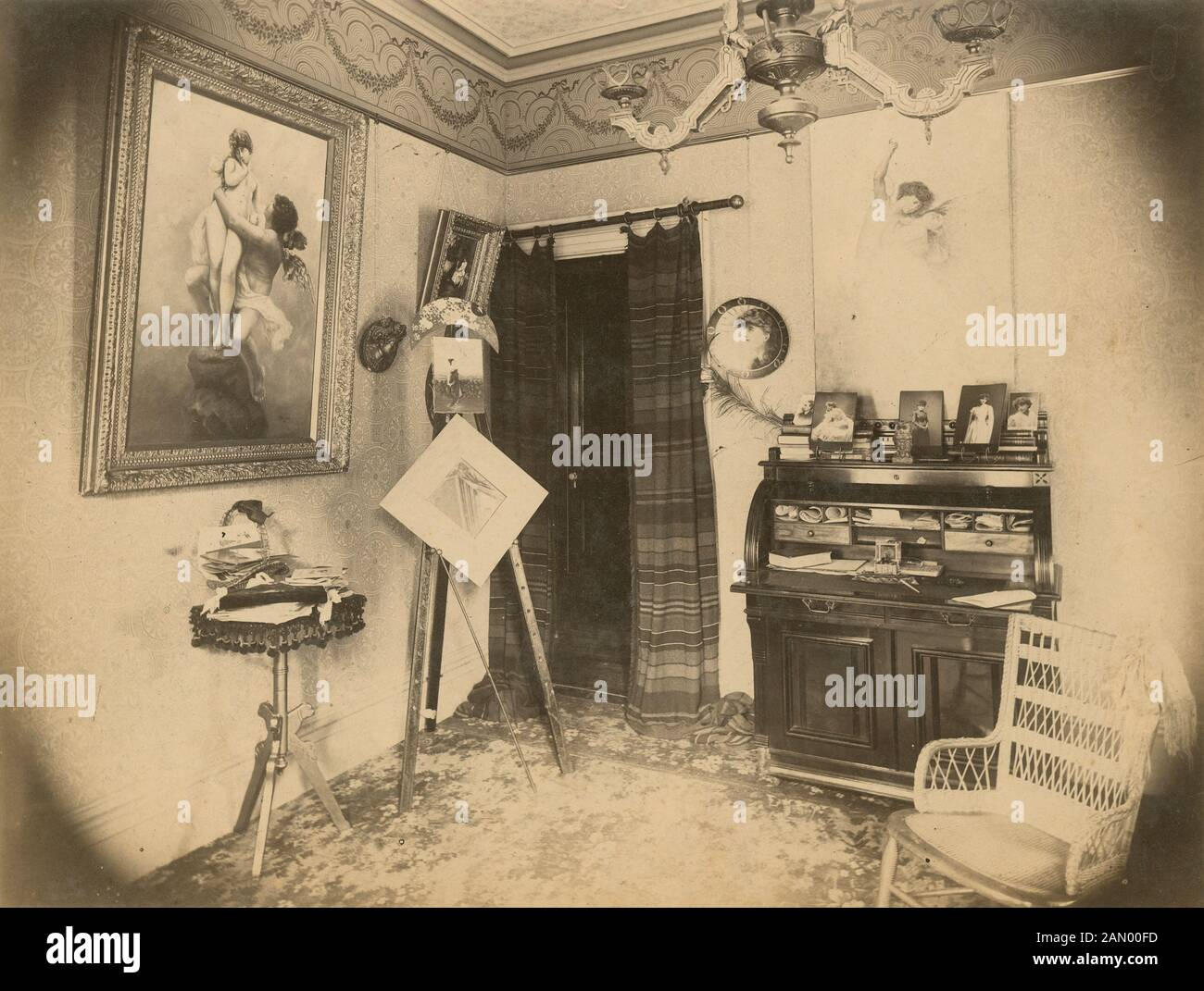 antique 1890 photograph victorian sitting room in the aesthetic movement style location unknown probably pennsylvania new jersey or new york source original photograph 2AN00FD