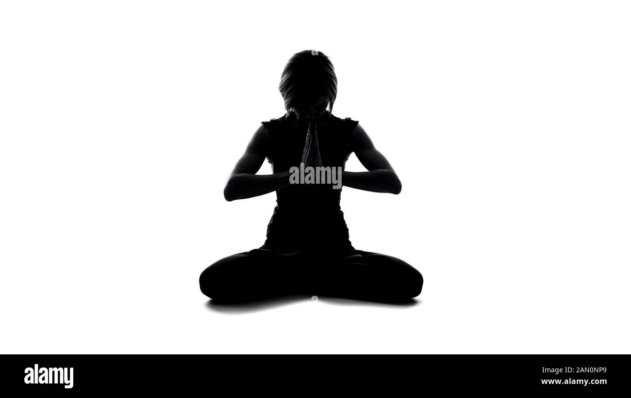 Meditating Female Silhouette Sitting Lotus Pose Yoga Mindfulness Spirituality Stock Photo Alamy