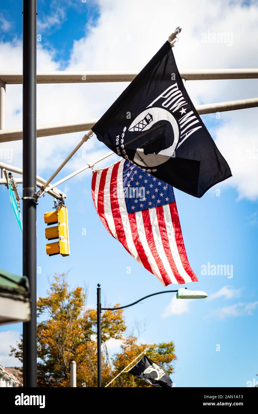 POW MIA Prisoners of War Missing in Action Small Hand Waving Flag