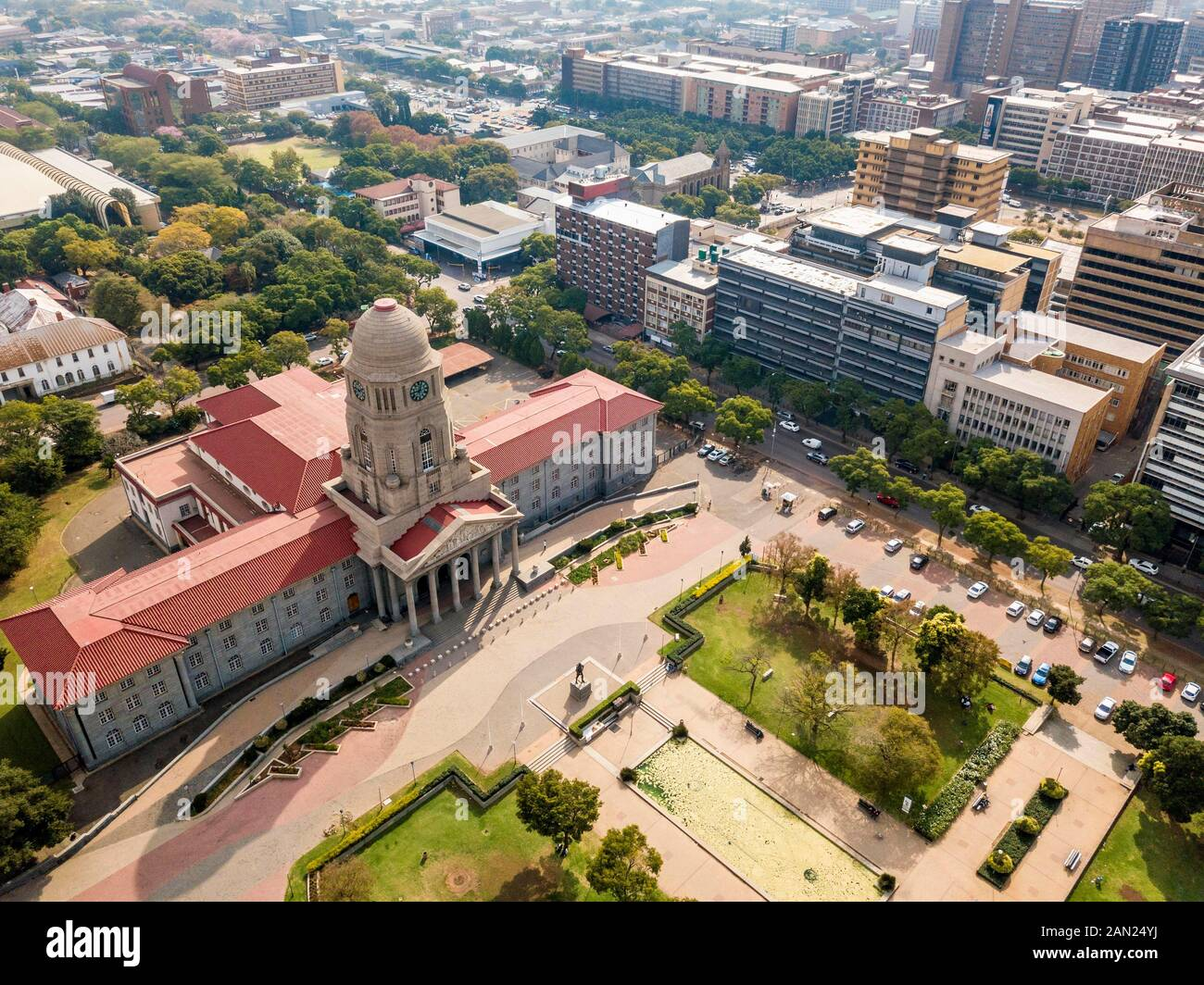 Aerial view of Tshwane city hall, Pretoria, South Africa Stock Photo