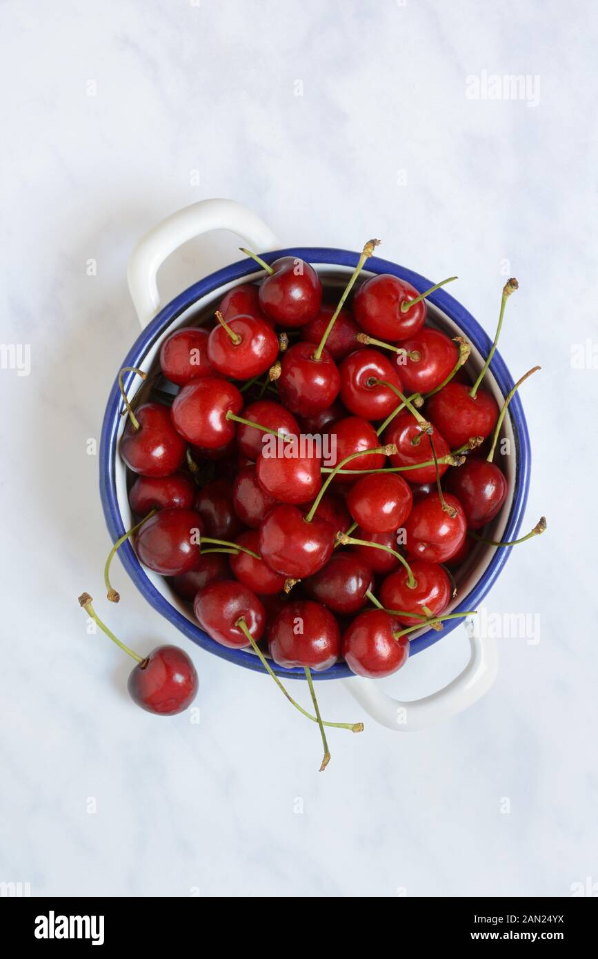 Sweet cherries in bowl, Germany Stock Photo