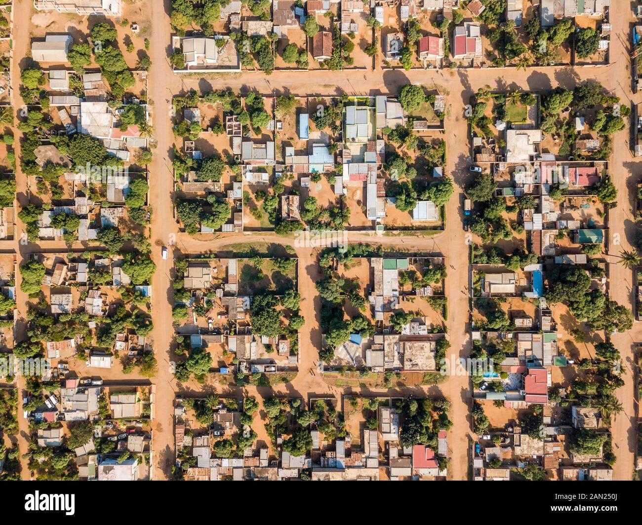 Aerial view of Matola, suburbs of Maputo, Mozambique Stock Photo
