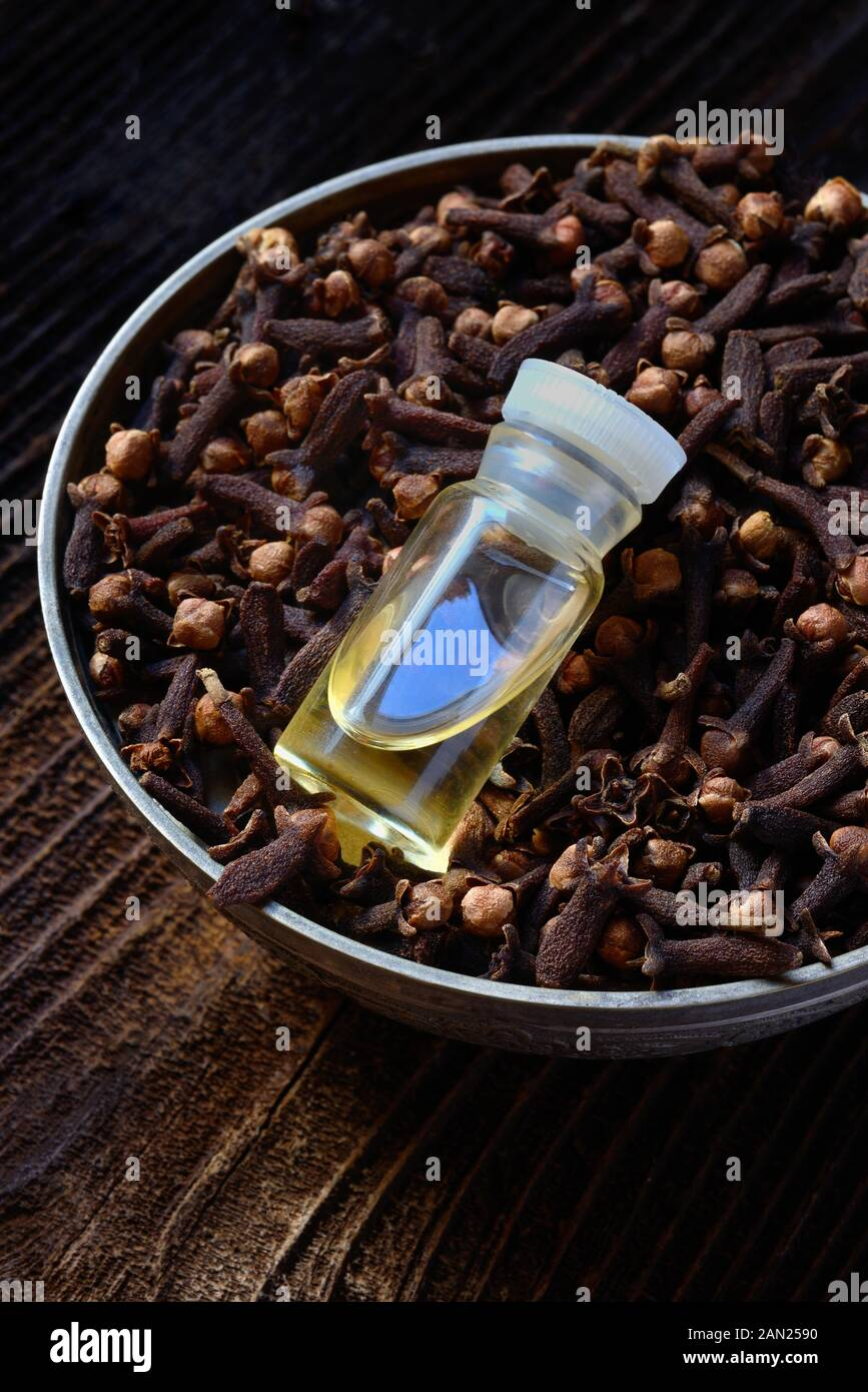 Cloves in a bowl and clove oil, clove oil, Germany Stock Photo