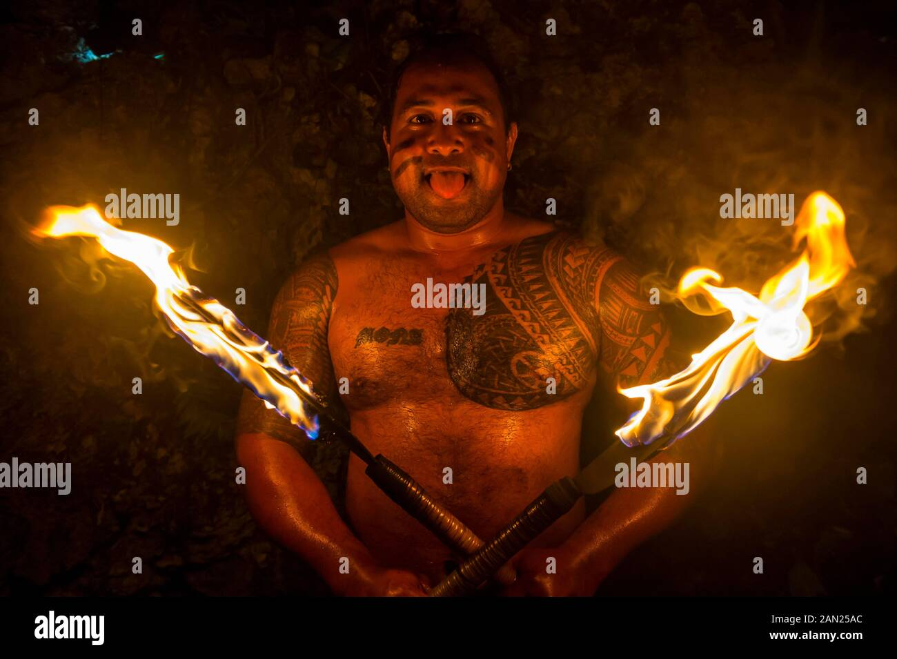 Local fire dancer in the Matavai Resort, Niue Stock Photo
