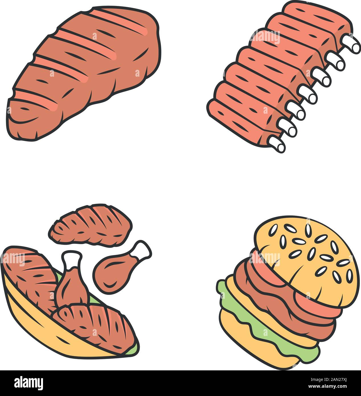 Meat Dishes Color Icons Set Steak Beef Ribs Chicken Legs Burger Fast Food Butcher Shop Product Restaurant Grill Bar Steakhouse Menu Isolated Stock Vector Image Art Alamy