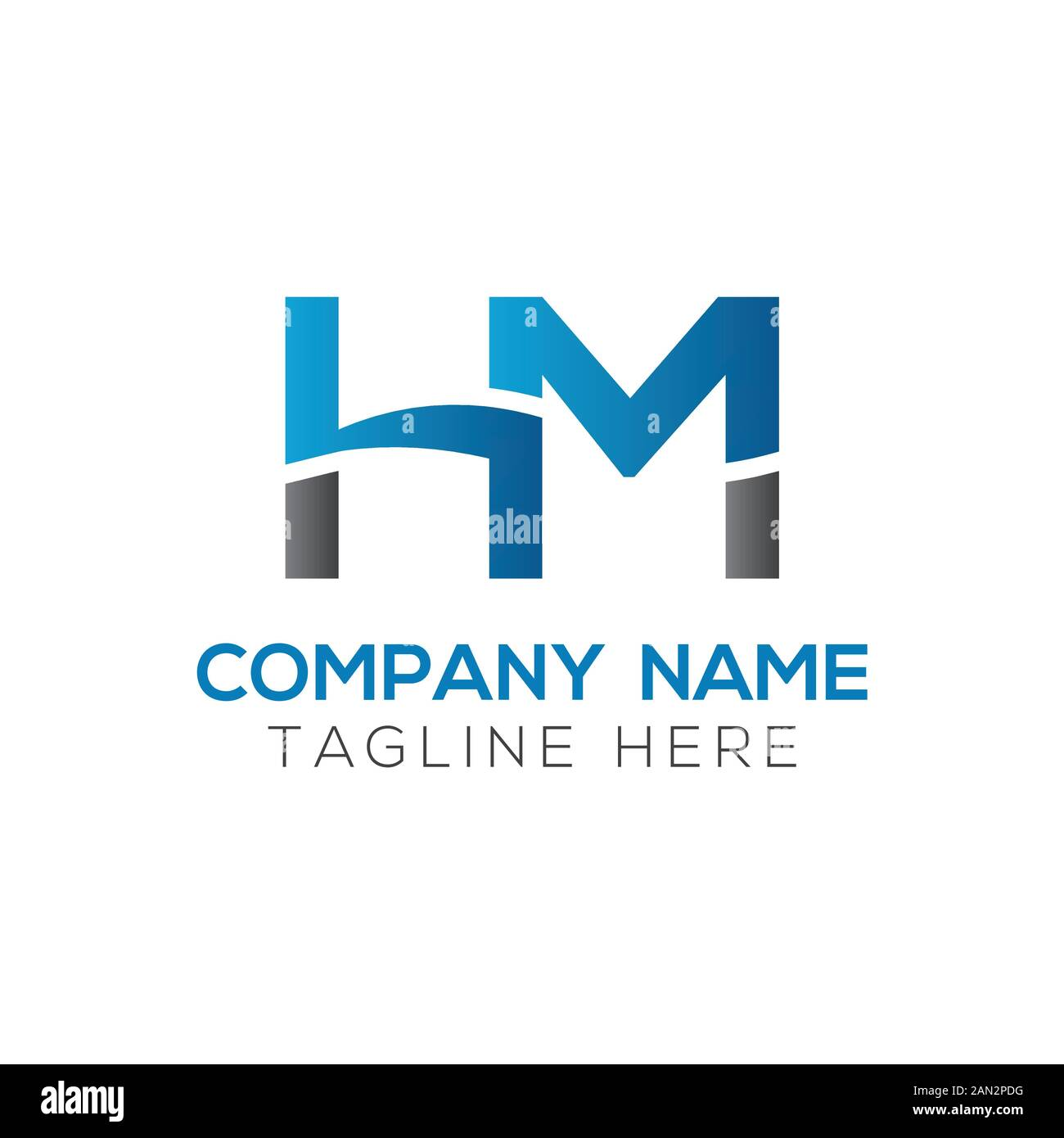 Letter Hm Logo Design Linked Vector Template With Blue And Black Initial Hm Vector Illustration Stock Vector Image Art Alamy