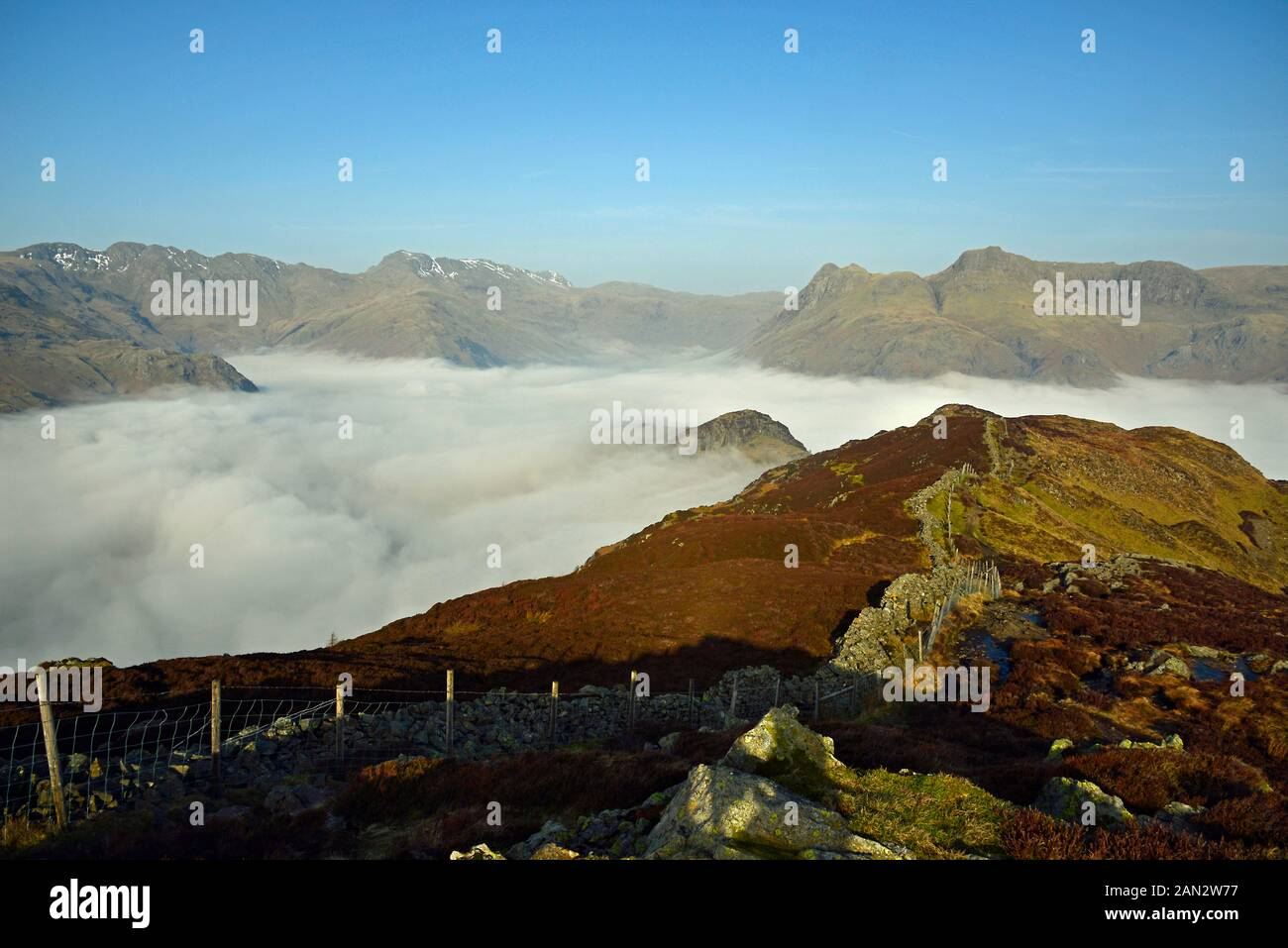 The Langdale Pikes and the Langdale Boulders, In the Lake Districkt National Park Stock Photo