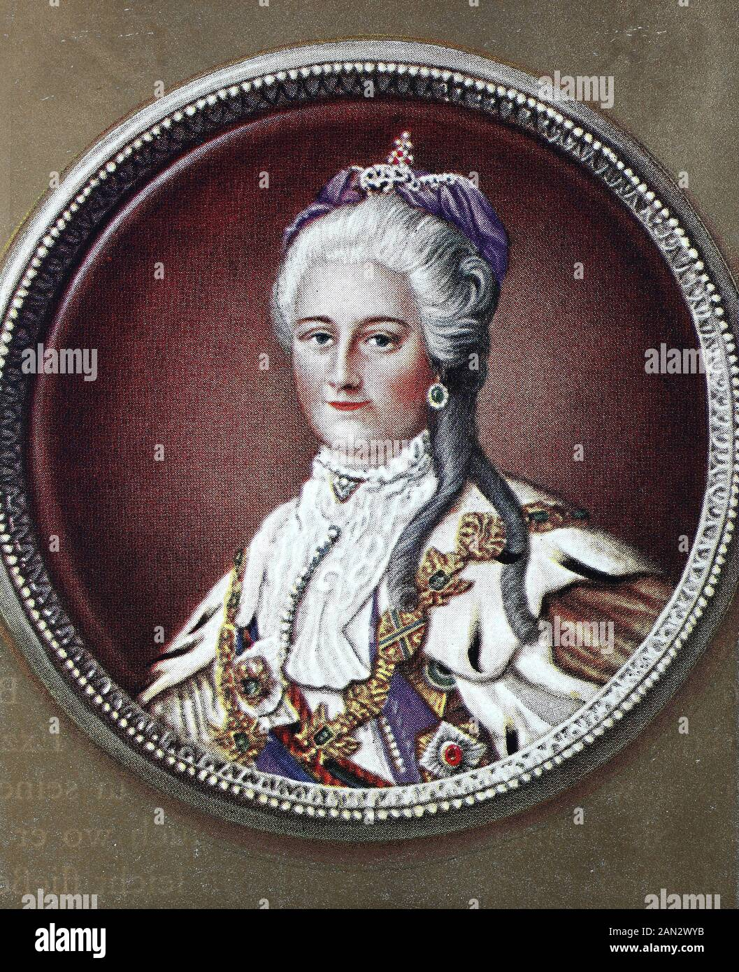 Catherine II, Yekaterina Alekseyevna, 2 May 1729 – 17 November 1796, also known as Catherine the Great, Yekaterina Velikaya, born Princess Sophie of Anhalt-Zerbst, was Empress of Russia from 1762 until 1796,   /  Catherine II, Yekaterina Alekseyevna, 2. Mai 1729 - 17. November 1796, auch bekannt als Catherine the Great, Yekaterina Velikaya, geborene Prinzessin Sophie von Anhalt-Zerbst, war von 1762 bis 1796 Kaiserin von Russland, Historisch, digital improved reproduction of an original from the 19th century / digitale Reproduktion einer Originalvorlage aus dem 19. Jahrhundert Stock Photo