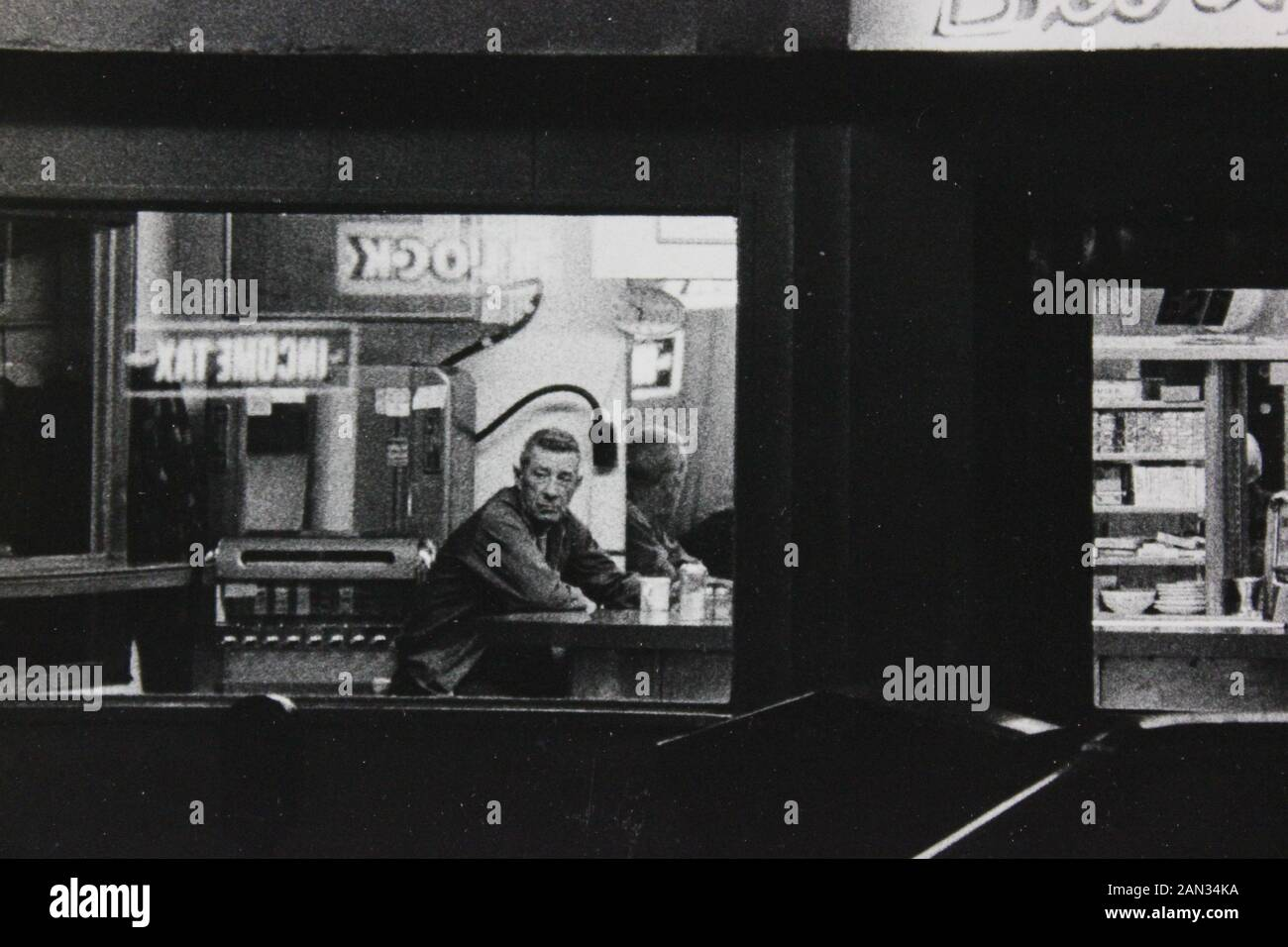 Fine Seventies Black And White Extreme Photography Of A Late Night Diner Stock Photo Alamy