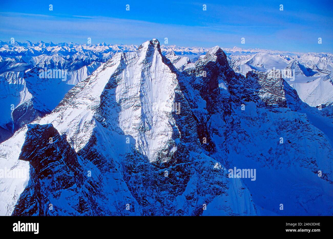 Aerial view of the Canadian Rocky Mountains near southern Alberta and British Columbia, Canada Stock Photo