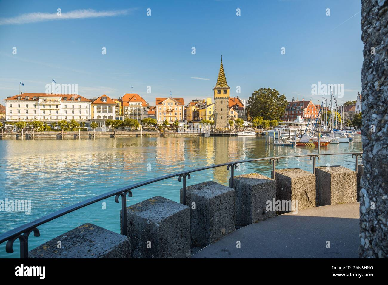Lindau, Germany, July 2019 - View of marina and the Mangturm tower situated in the german port Lindau. Stock Photo