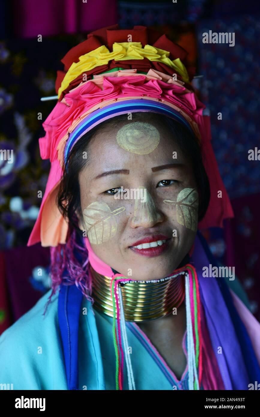 Portrait of a Padaung woman. Stock Photo