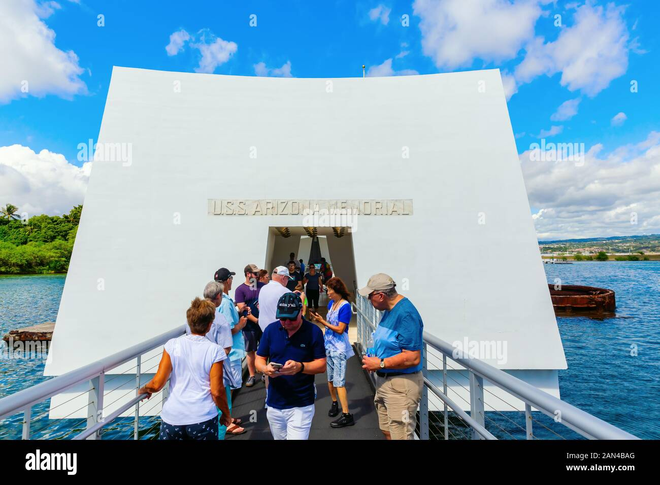 Pearl Harbor, Honolulu, Hawaii - November 05, 2019: U.S.S. Arizona Memorial with unidentified people. The memorial commemorates the Japanese attack on Stock Photo