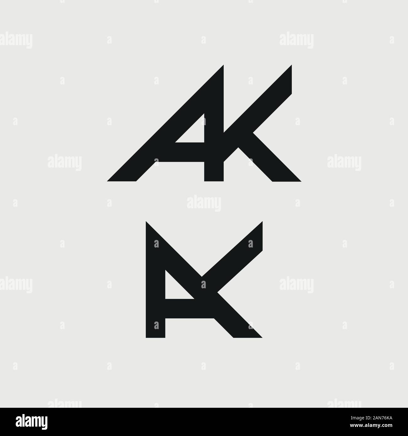 Unique AK logo which can help your business to grown up Stock Vector