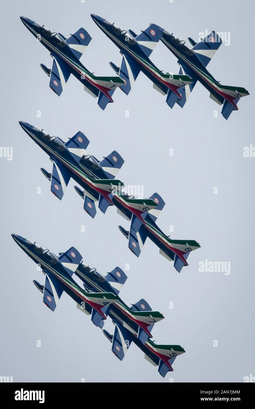 Fairford, Gloucestershire, UK - July 20th, 2019: The Italian Air Force Tricolori performs at Fairford International Air Tattoo 2019 Stock Photo
