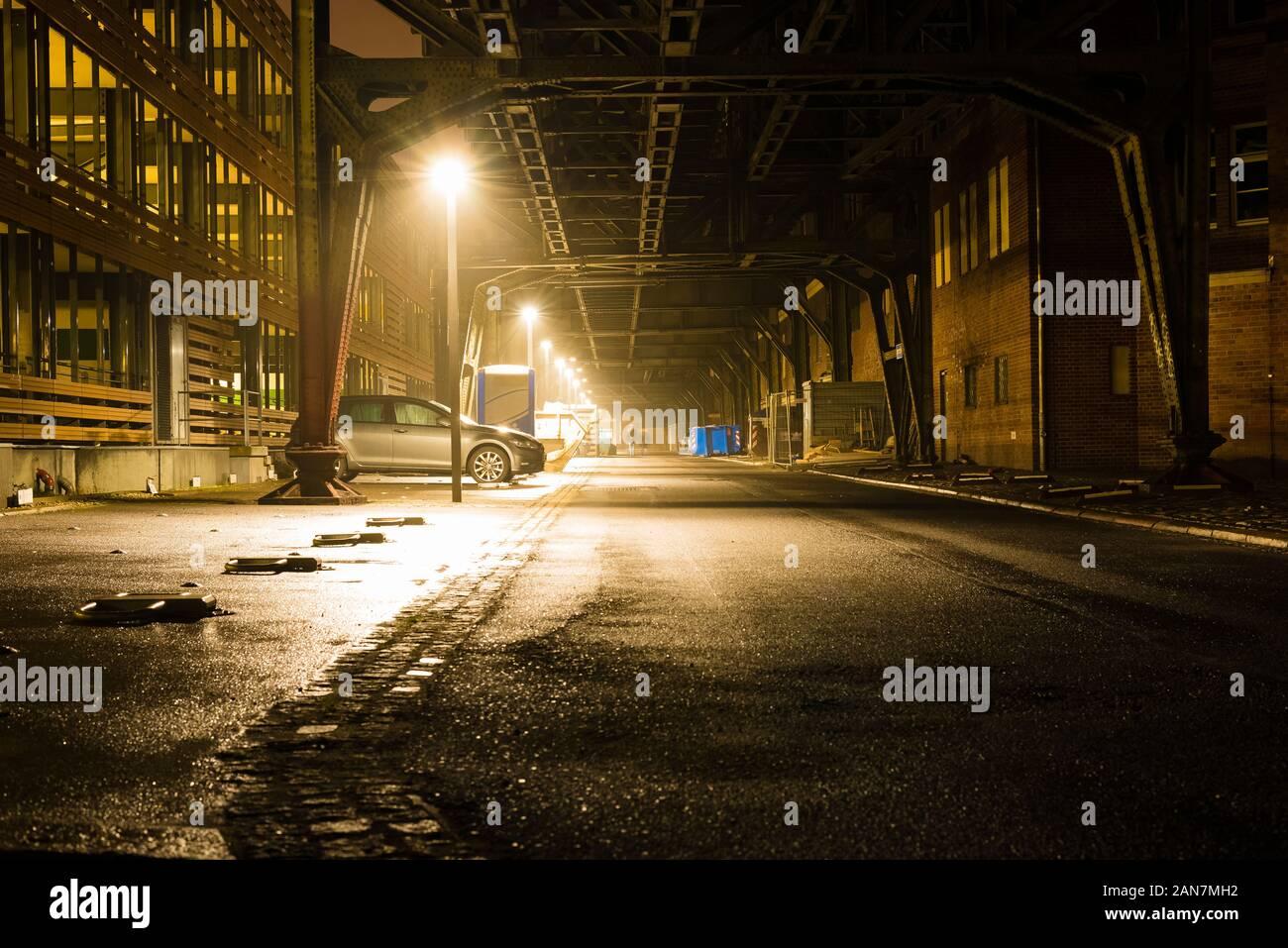 Old Bridge construction at night, berlin, gleisdreieck berlin at night, elevated railway in berlin, parking car, city lights, u-bahn, underground Stock Photo