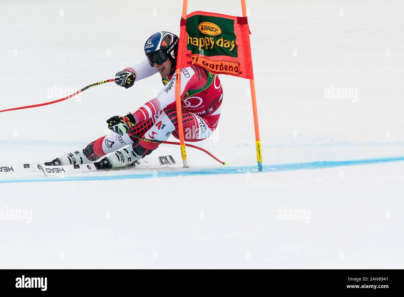 Val Gardena, Italy 20 December 2019. Mayer Matthias (Aut) competing in the Audi Fis Alpine Skiing World Cup Men's Super-G Race  on the Saslong Course Stock Photo
