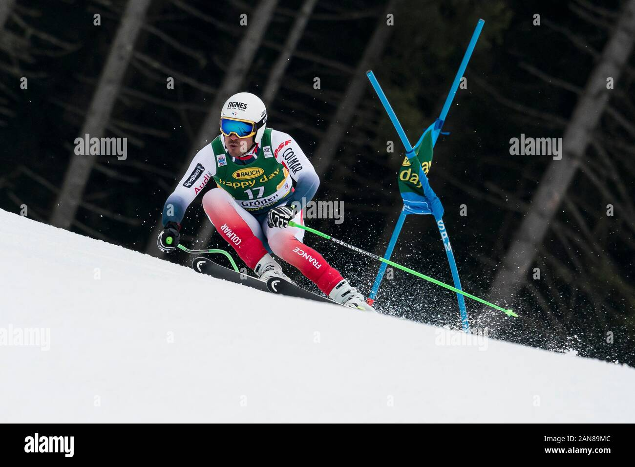 Val Gardena, Italy 20 December 2019. Clarey Johan (Fra) competing in the Audi Fis Alpine Skiing World Cup Men's Super-G Race  on the Saslong Course in Stock Photo