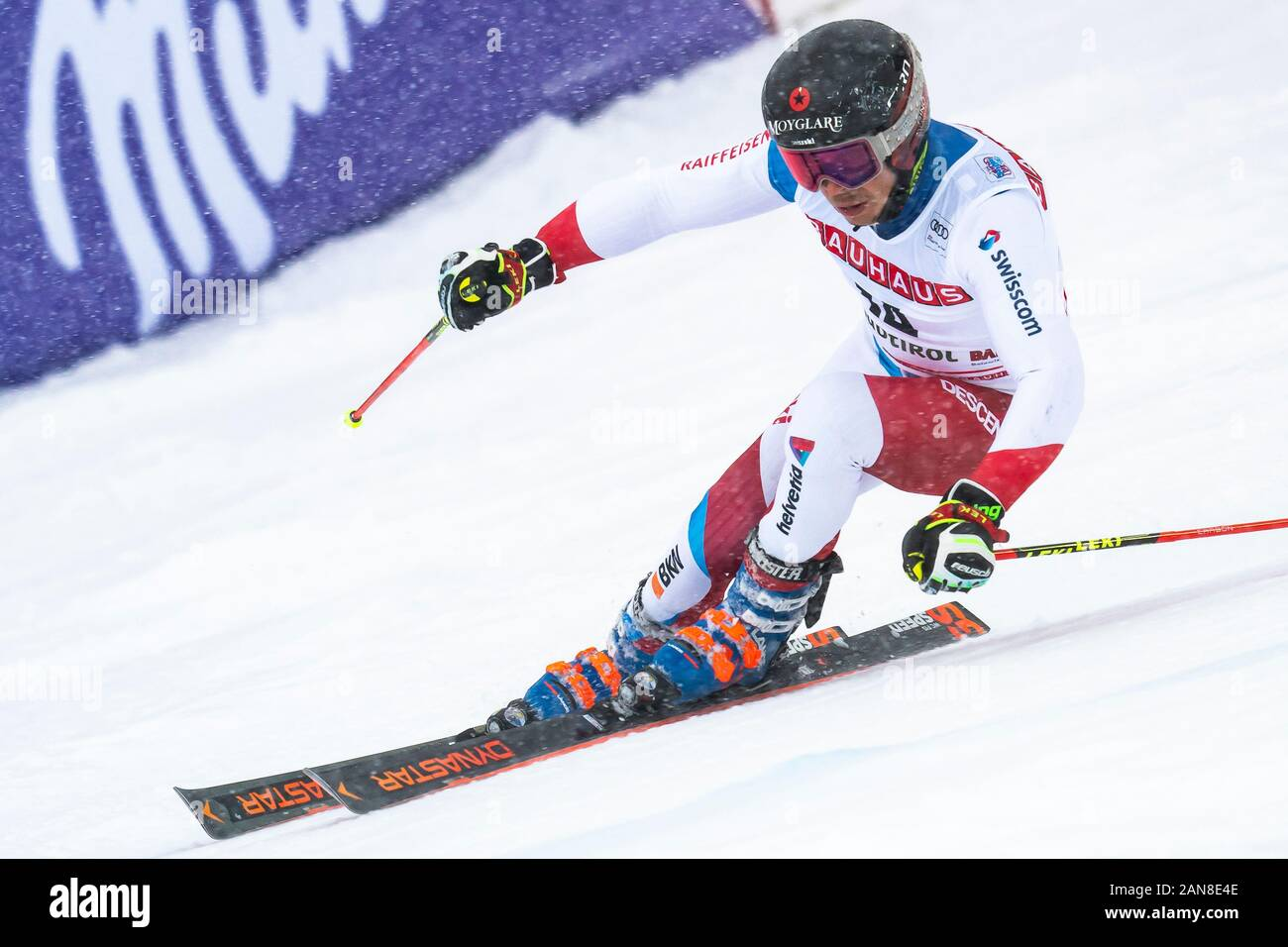 Alta Badia, Italy 22 December 2019.  CAVIEZEL Gino (Sui) competing in the Audi Fis Alpine Skiing World Cup Men's Giant Slalom on the Gran Risa Course Stock Photo