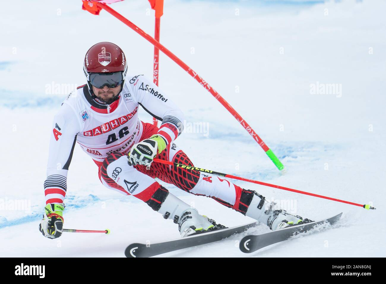 Alta Badia, Italy 22 December 2019. STROLZ Johannes (Aut) competing in the Audi Fis Alpine Skiing World Cup Men's Giant Slalom on the Gran Risa Course Stock Photo