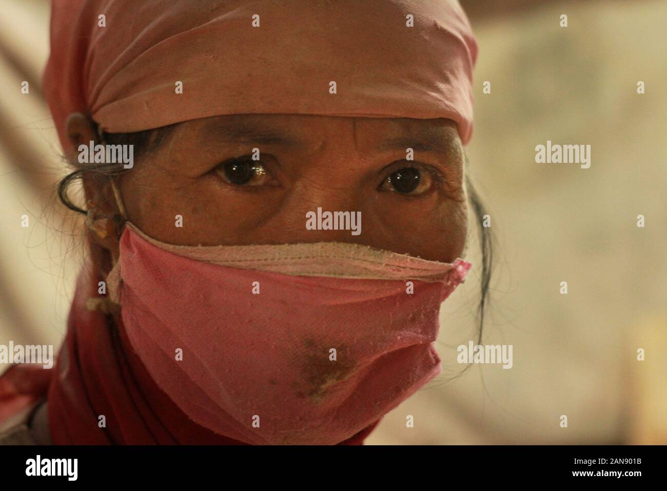 Malang Indonesia 16th Jan 2020 Masemi 55 Years Old An Incense Maker In Her Hijab With A Mask During The Incense Making As The Chinese New Year Approaches Incense Demand Is Increasing And