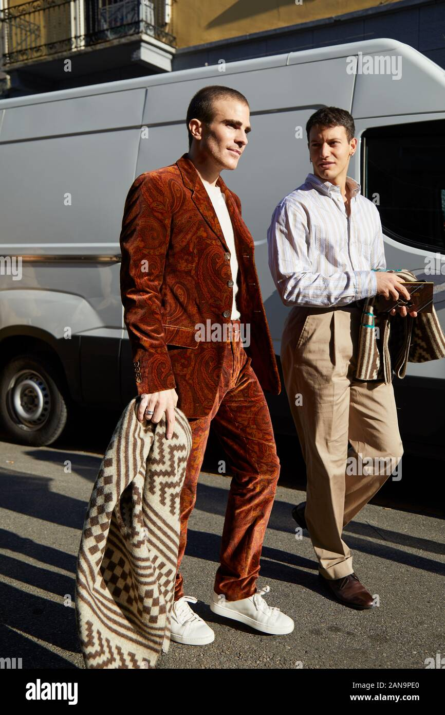 Milan Italy January 12 2019 Carlo Sestini With Brown Velvet Jacket And Trousers With Paisley Design Before Etro Fashion Show Milan Fashion Week Stock Photo Alamy