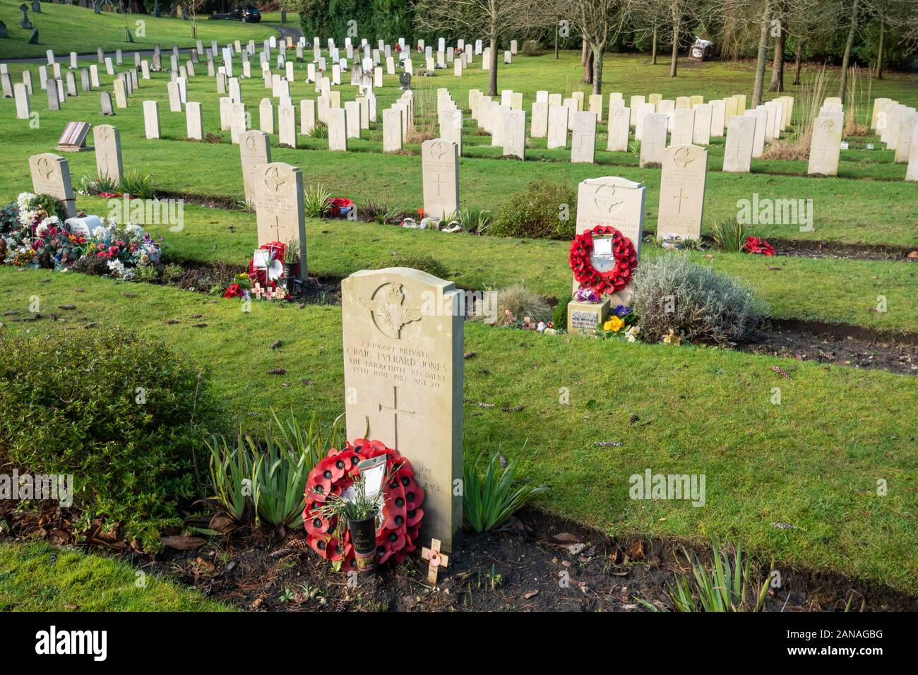 Aldershot Military Cemetery with graves of british and commonwealth servicemen and women, Hampshire, UK. Graves of those killed in the Falklands War Stock Photo