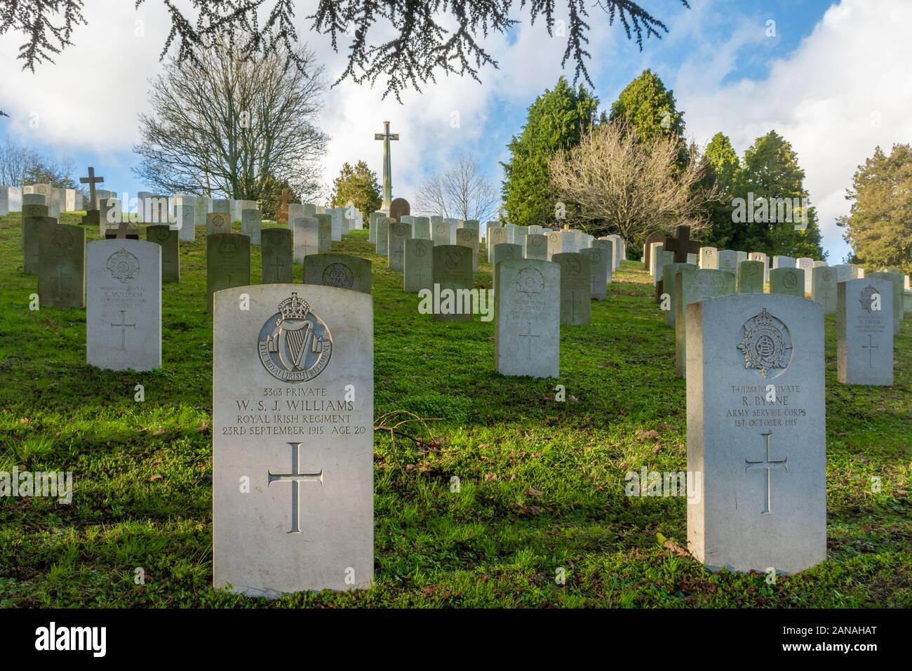 Aldershot Military Cemetery with graves of british and commonwealth servicemen and women, Hampshire, UK. First world war graves and cross of sacrifice Stock Photo