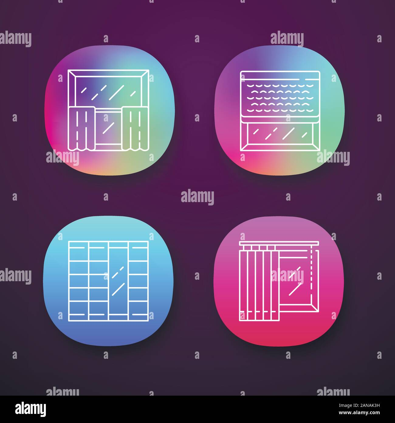 Window Decoration App Icons Set Cafe Curtains Vertical Blinds Woven Wood Shades Shoji Panels Shop Interior Design Ui Ux User Interface Web Or M Stock Vector Image Art Alamy