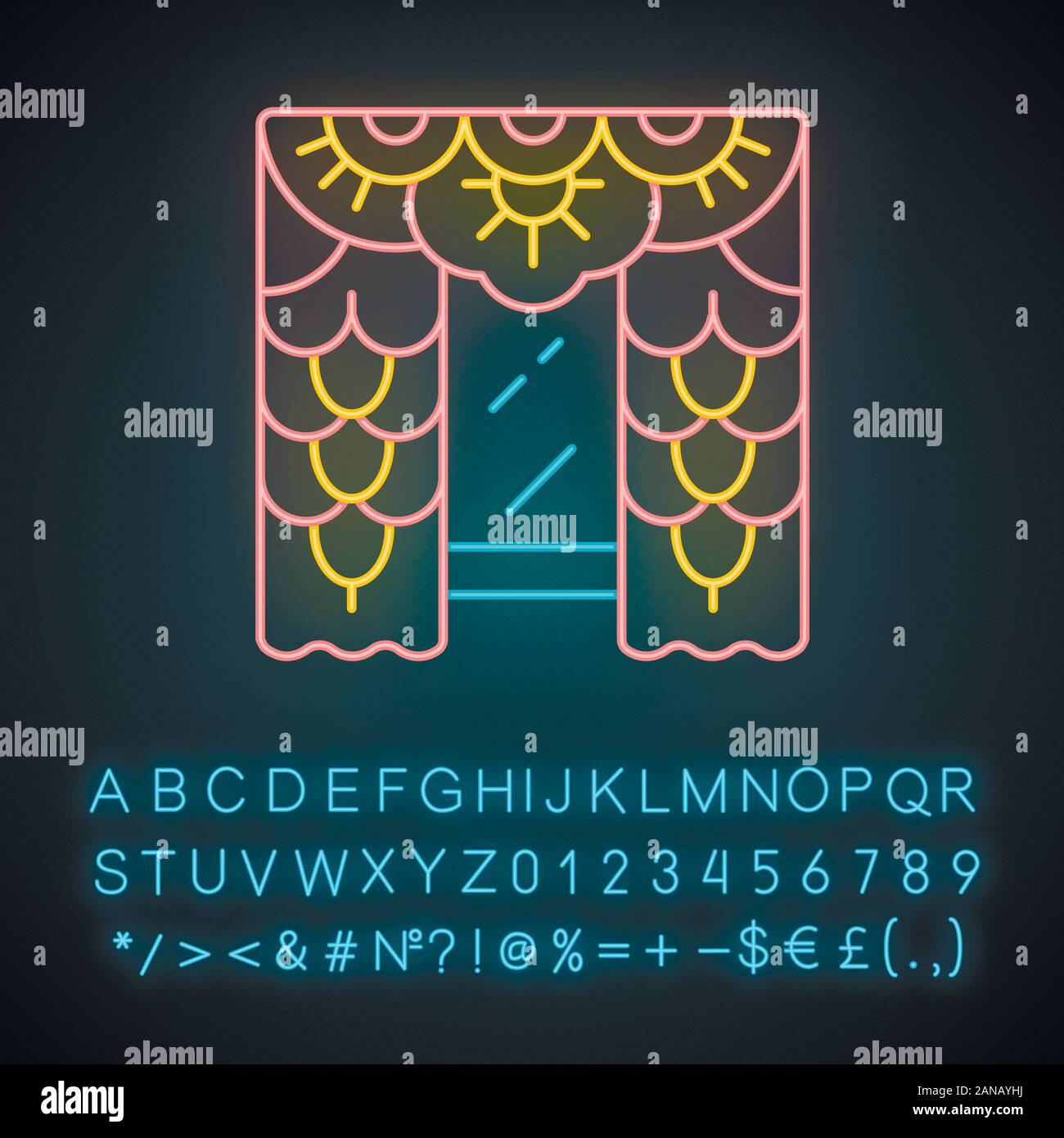 Lace Curtains Neon Light Icon House Interior Design Home Window Treatments Vintage Floral Curtains Blinds Drapes Glowing Sign With Alphabet Num Stock Vector Image Art Alamy