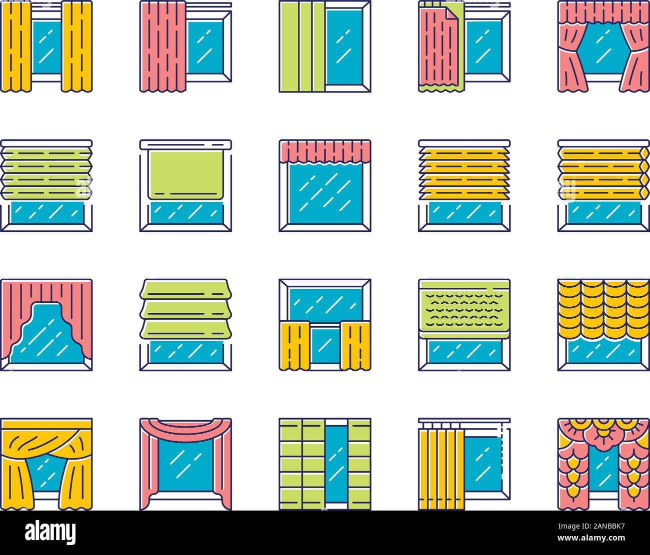 Window Treatments And Curtains Color Icons Set Roman Shades Blinds Valance Panel Shutters Room Darkening Interior Design Home Decor Shop Isol Stock Vector Image Art Alamy