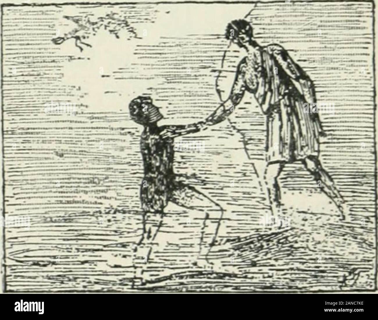 Éléments d'archéologie chrétienne . llés en rois ;ils portent le bonnet phrygien et le costume de grandspersonnages persans, comme S S. Abdon et Sennen dans lapeinture du cimetière de Pontien. Les Romains aimaientcette scène, qui rappelait la vocation des Gentils à la foi. Le BAPTÊME DE Notre-Seigneuk. — Sujet rare, quelon voit pourtant dansles cryptes de Lucine :S. Jean reçoit NotreSeigneur au moment oùil sort de leau ; la pré-sence de la colombe,figure du Saint-Esprit,prouve quil ne sagitpas dun baptême quel-conque, mais du bap-tême du Sauveur. Les >riRACLES évangéliQUES. — Ceux quon trou Stock Photo