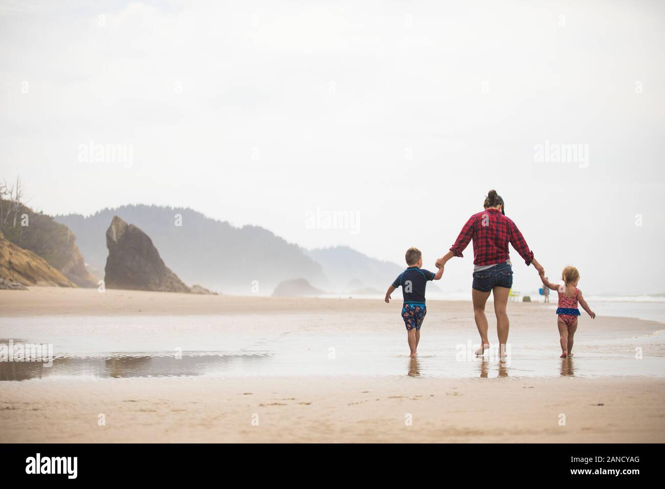 Rear view of mother walking on beach with her two young children. Stock Photo