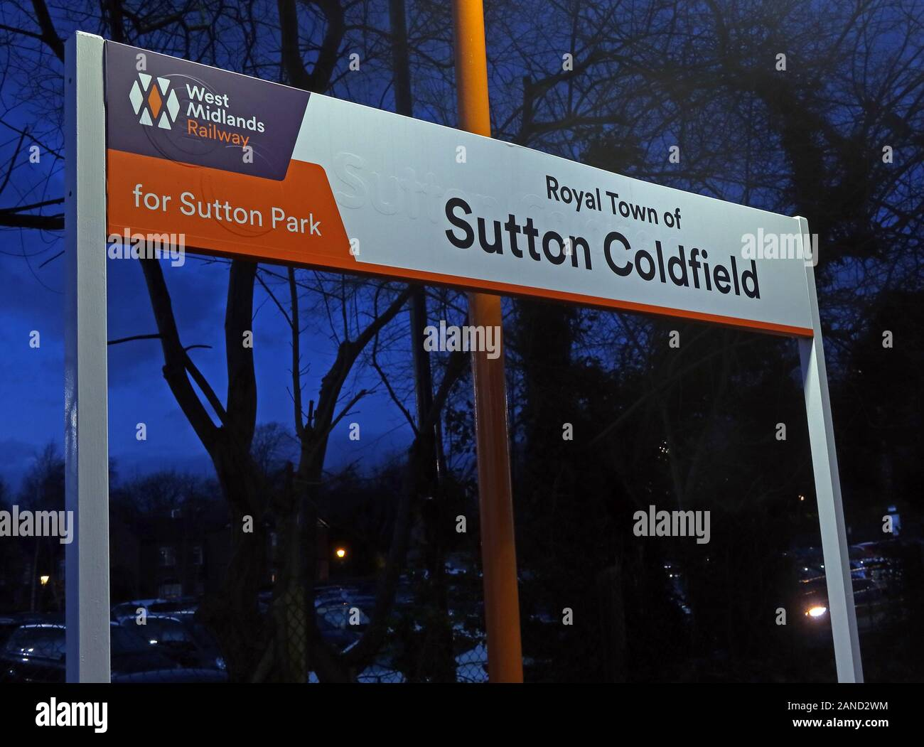 Royal Town of Sutton Coldfield sign on station, West Midlands railway, Birmingham, England, UK Stock Photo