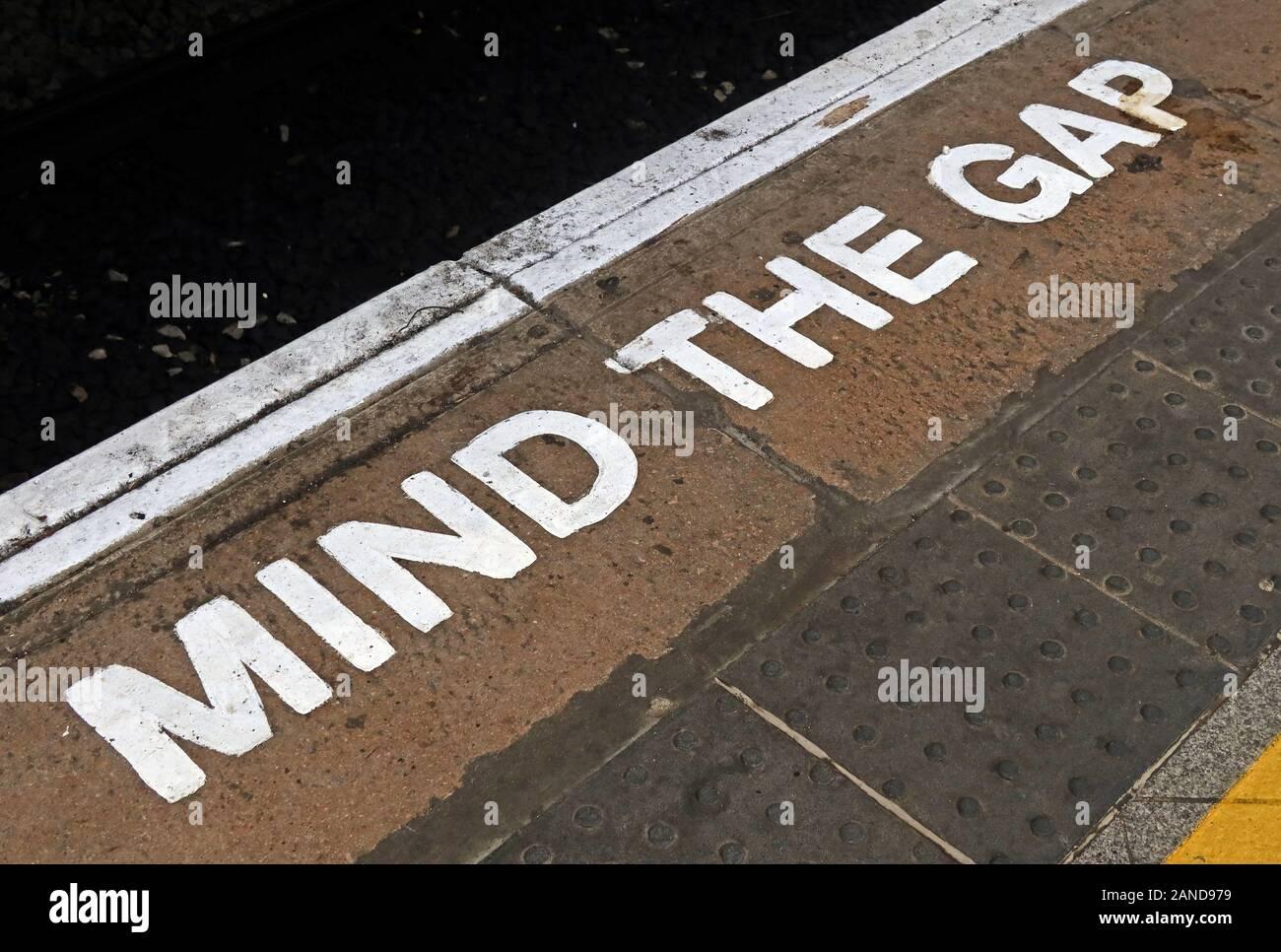 Mind The Gap, MindTheGap sign, railway station platform, England, UK Stock Photo