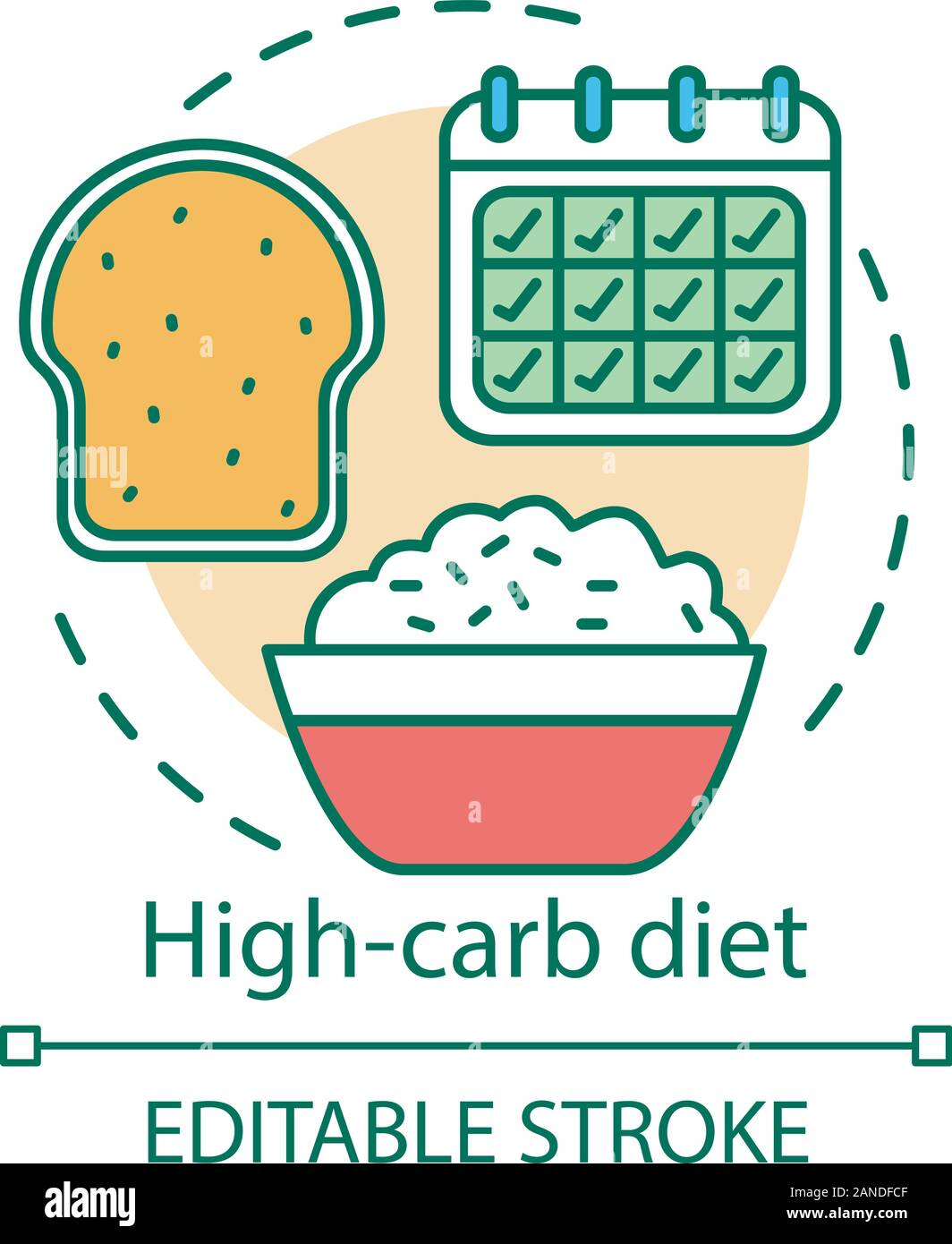 High Carb Diet Concept Icon Vegetarian Nutrition Idea Thin Line Illustration Healthy Food Vegan Lifestyle Rice Bowl Fresh Bread And Calendar Vect Stock Vector Image Art Alamy
