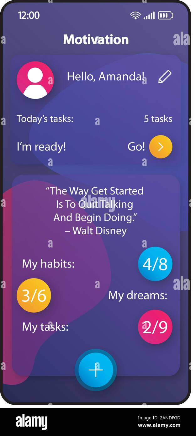 motivation tips smartphone interface vector template mobile app