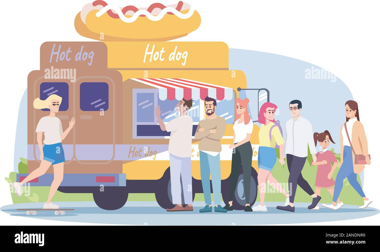 Hot Dog Food Truck Flat Vector Illustration Selling Hotdogs At Street Vehicle Summer Park Cafe Visitors People Buy Street Food Walk Ride Skateboa Stock Vector Image Art Alamy