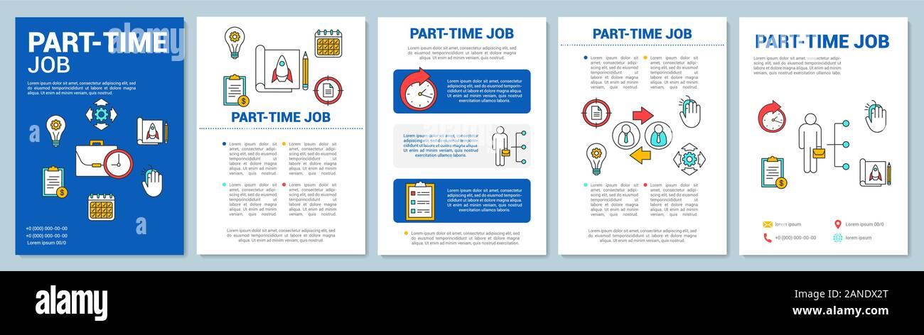 Part-time job brochure template layout. Short-term employment. Job recruitment. Flyer, booklet, leaflet print design with linear illustrations. Vector Stock Vector
