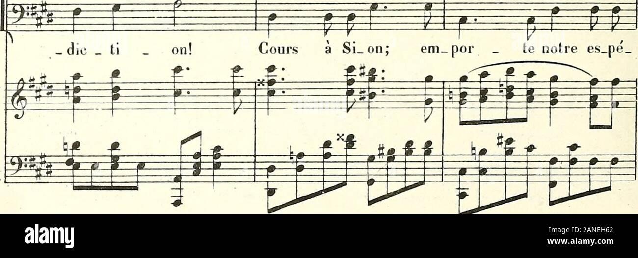 Les Machabées : opéra en 3 actes . Ph. M.& Clp, 13,405. 92 No. Bfnj Jo;] -J<9 £ 1=^- Ê hé _ né_ d ti_on! Em _por le notre rsz £= bé ti_on! por te notre 3P- e p T r &P^ ^*^- 3E bé _ die ti_on! Em por te notre _ b ?f-f—l—*- lt a p r p H» #? _ rait lut _ ter. Au. tour de nous tout ce pie te cri _ e m ÊÊâm S 3SE Kl. I i la veii_gean _ ce; U _ ne dijvi pe_ran _ ce X HT f âÉÉê 9 *W«5 -# *.—F faut un bras fort! Plus de faiblesse et plus dà _ lar_ mes! EPI te f m h _h h h £ p p Joï. S. B. ^* tri _ om __ phant! Un peuple entier, meurtri par lasouffran_ ce, U ^ f=^ SËp Pour _ suis ta foUe chi me re: Stock Photo
