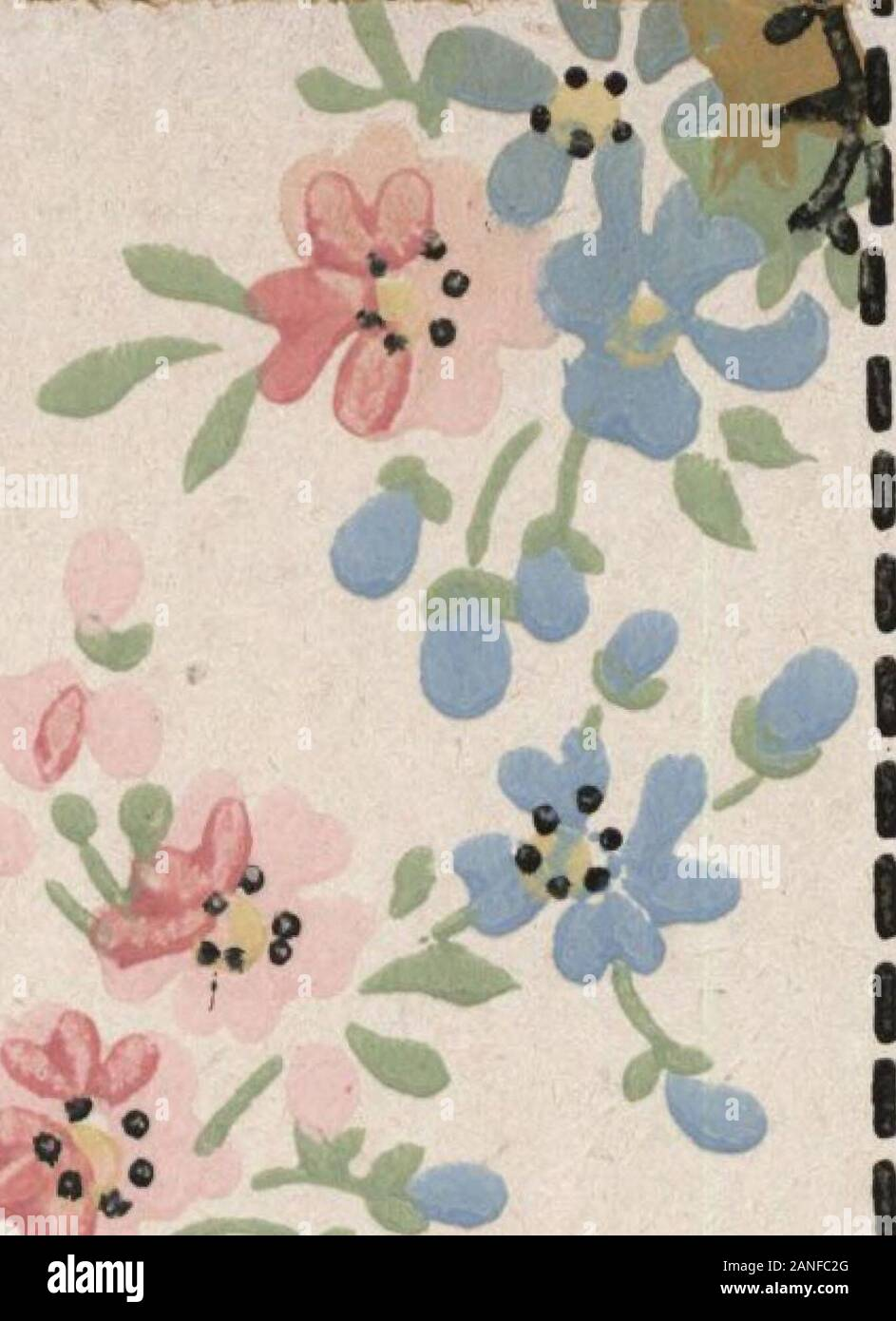 Wall paper for every home, 1916 . etty room.It is one of those delicate wall paper patterns which are somuch in demand at present. The combination scenic and floral border is 9 inches wide and showsbeautiful pink blossoms in the foreground with a calm lake scene in thedistance. The colors used in this border are blended and soft and overall is a white line and dot overprint which assists in blending the colorsand making them even more delicate. The ceiling design is printed in faintest pink on a white background, sothe general effect is one of harmony with the border and side wall. This Mariet Stock Photo